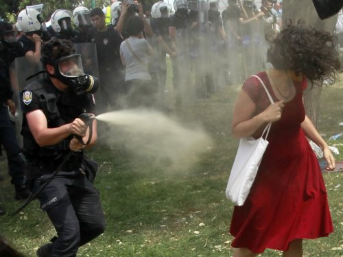 Tear gas woman Turkey