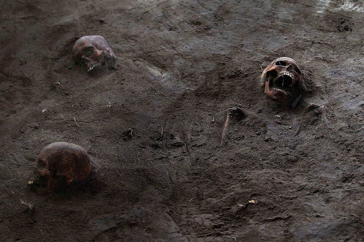 human skeletons uncovered in mass grave in sri lanka, Skeleton