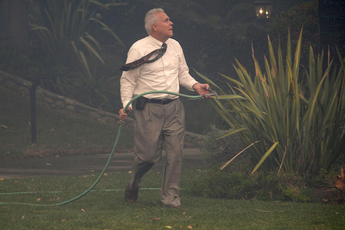 man with hose