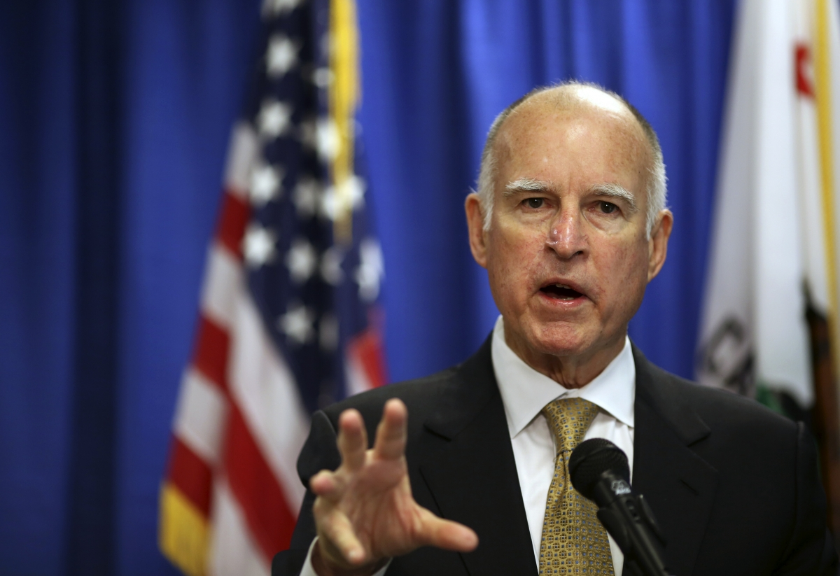 California governor Jerry Brown declares a drought during a press conference on January 17 in San Francisco.