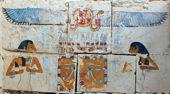A painted scene of the goddesses Neith and Nut, protecting the canopic shrine of the pharaoh Senebkay