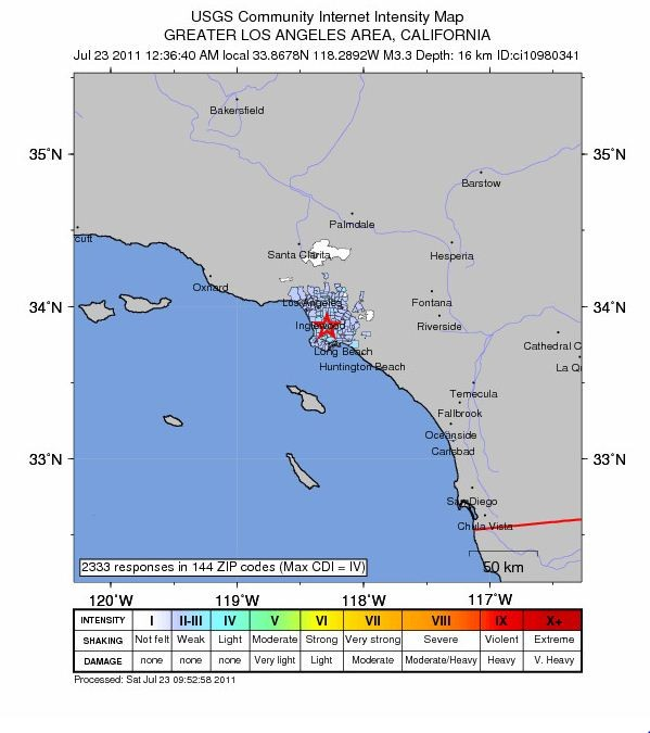 USGS Los Angles Earth Quake