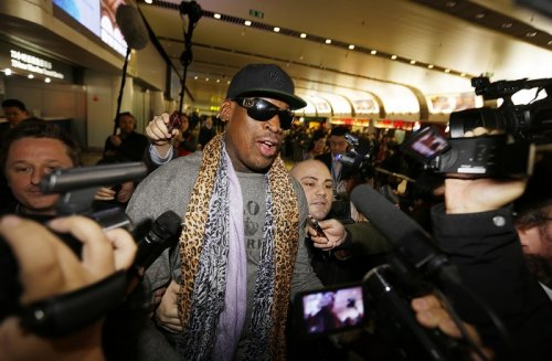 Dennis Rodman speaks to media after returning from his trip to North Korea.
