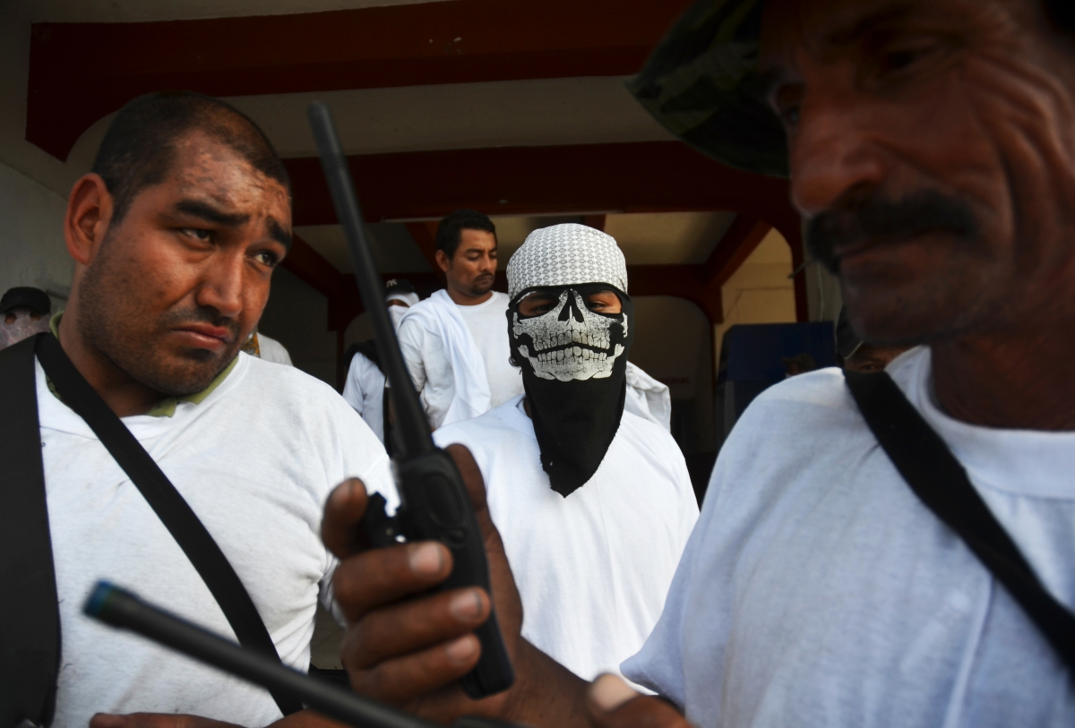 Vigilantes stand outside the municipality after entering the town of Nueva Italia January 12, 2014