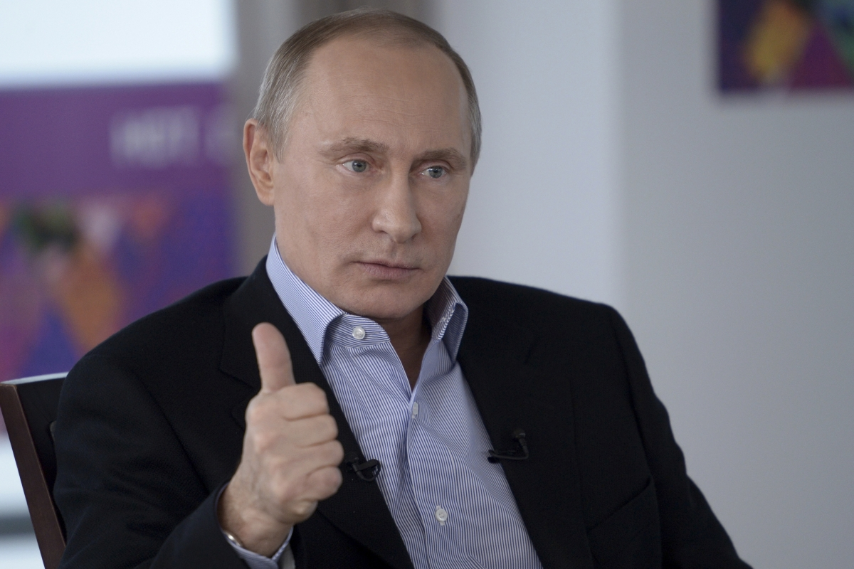 President Vladimir Putin during a live television interview in Sochi, Russia.