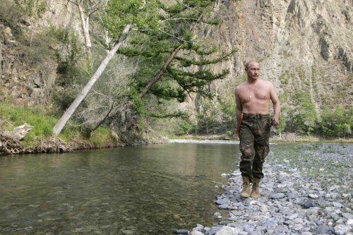 'Hello Boys'. Putin has carefully nurtured his action man image during his years in office in a series of publicity shoots, this one in Siberia in 2007.