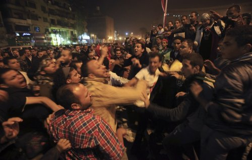 Flashpoint between protestors and the army at Tahrir Square in Cairo