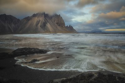 Jillian Wilson, Evening Light on Cliffs, Hofn Iceland
