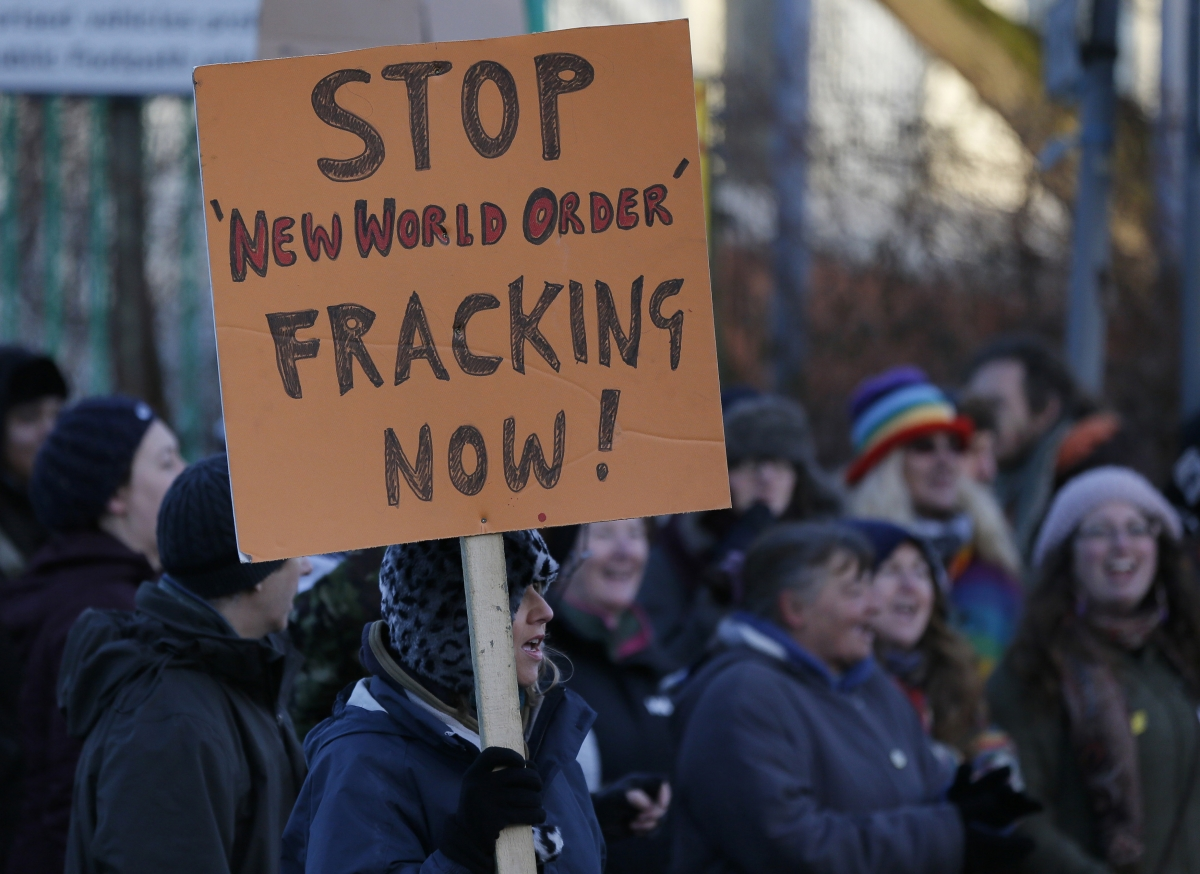 Placard at fracking protest Barton Moss near Manchester hints shadowy new world order conspiracy