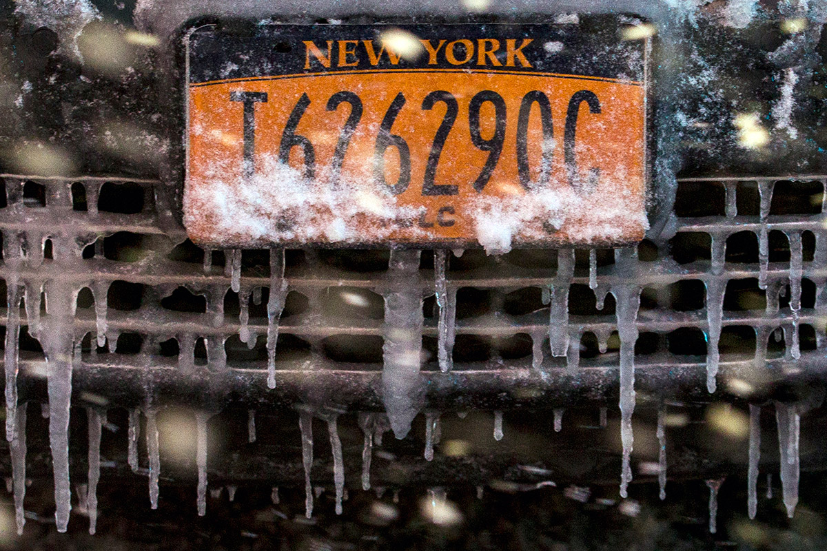 US weather car icicles