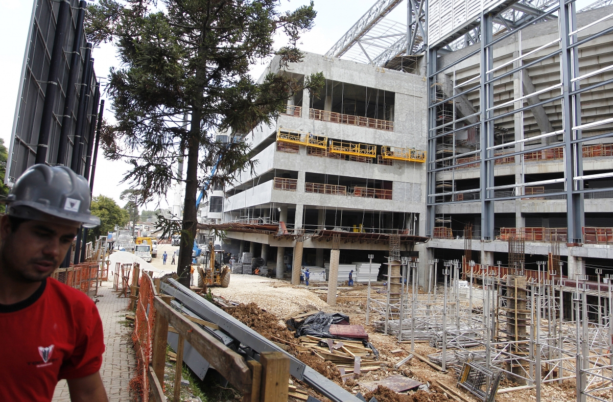 The Arena da Baixada in Curitiba is a building site for the visit of FIFA officials