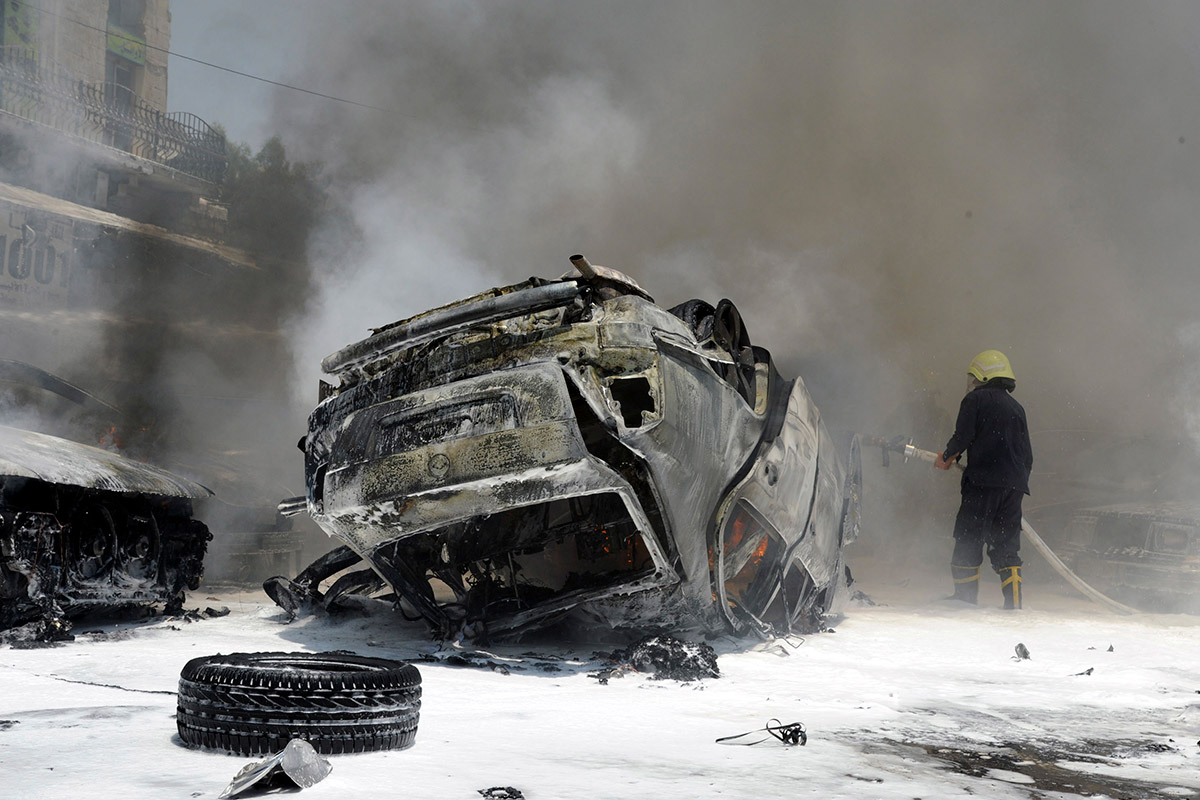 syria burning car