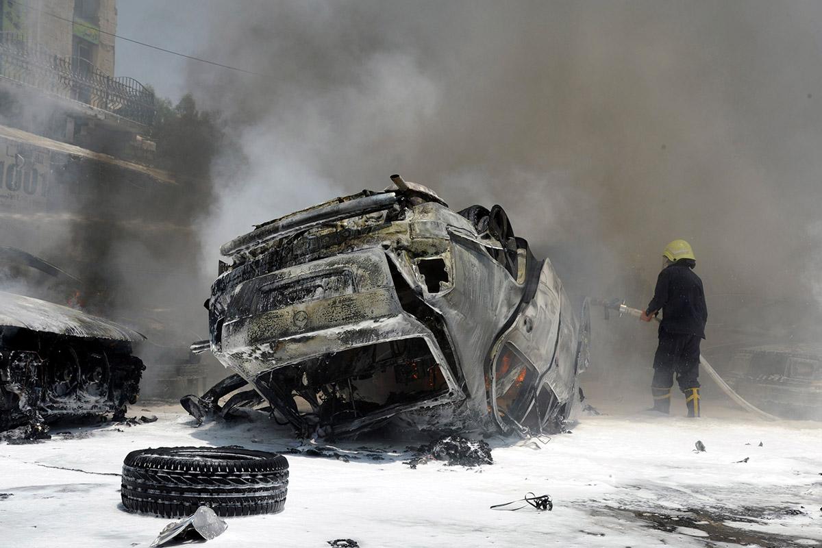syria burning car