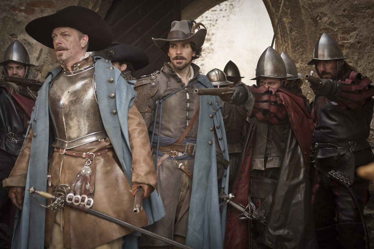BBC's The Musketeers - Hugo Speers and Santiago Cabrera with the Red Guard.