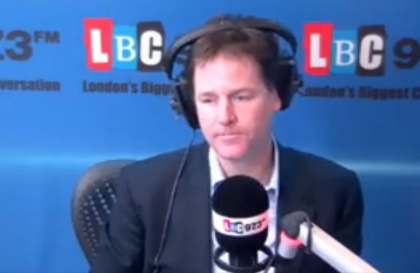 Nick Clegg during radio show