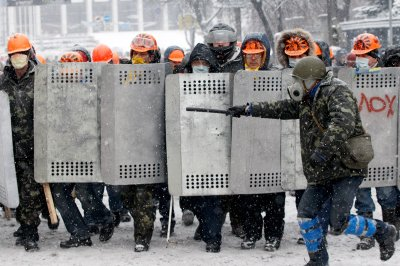 protester shields