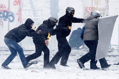 protesters petrol bombs