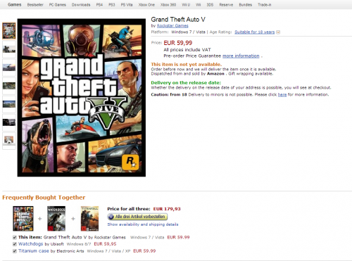 GTA 5 PC up for Pre-Orders on Amazon German, GameHolds in UK