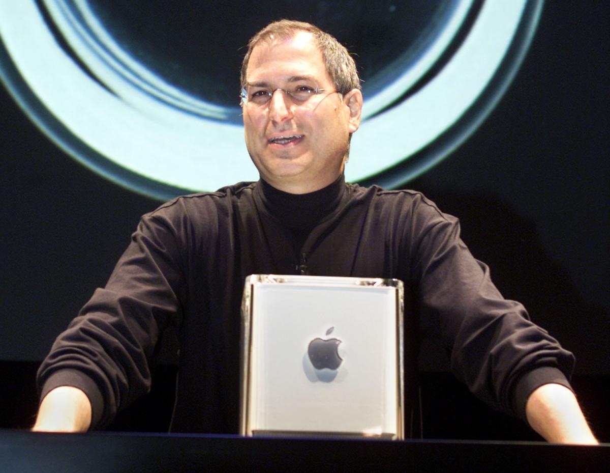 Steve Jobs with Mac G4 Cube
