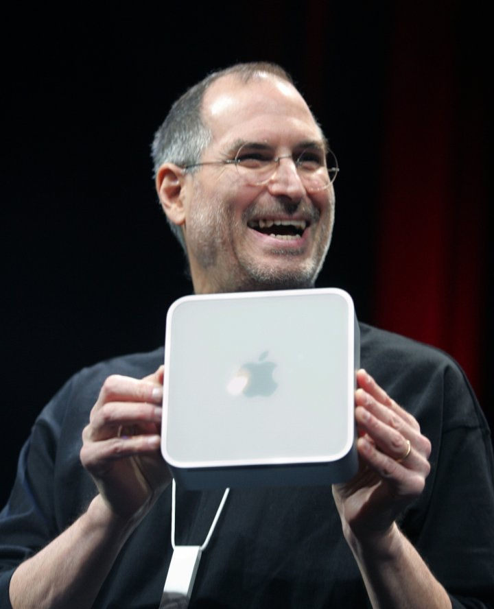 Steve Jobs with Mac Mini