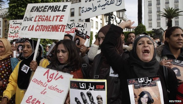 Women protesting in Morocco