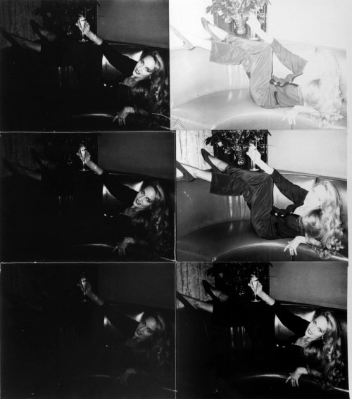Andy Warhol Jerry Hall Reclining on Couch, 1976 – 1987 Six silver gelatin prints stitched with thread, 80 x 69 cm © 2014 The Andy Warhol Foundation for the Visual Arts, Inc. / Artists Rights Society (ARS), New York and DACS, London