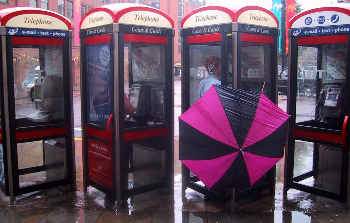 British rain phone box