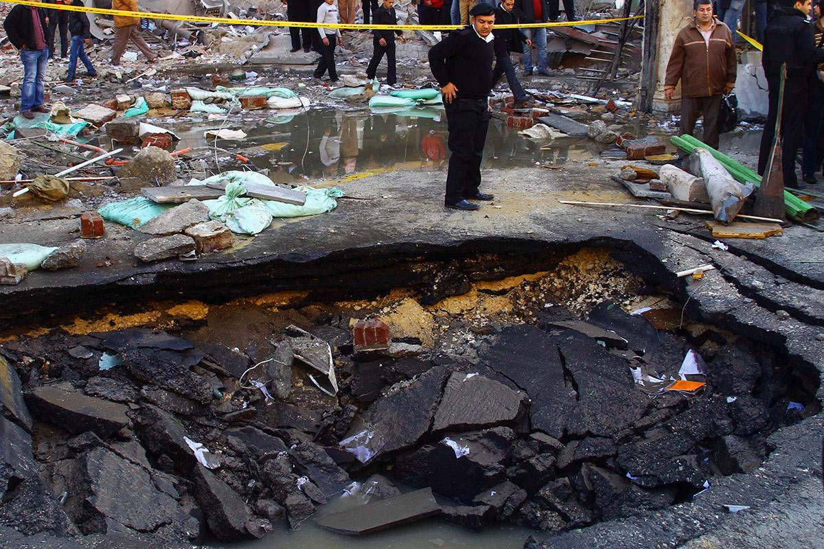 bomb crater