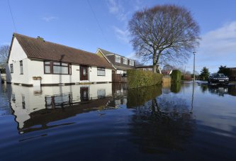 A  flooded street in Wraysbury in southern England