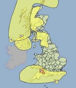 Severe weather warnings across the UK