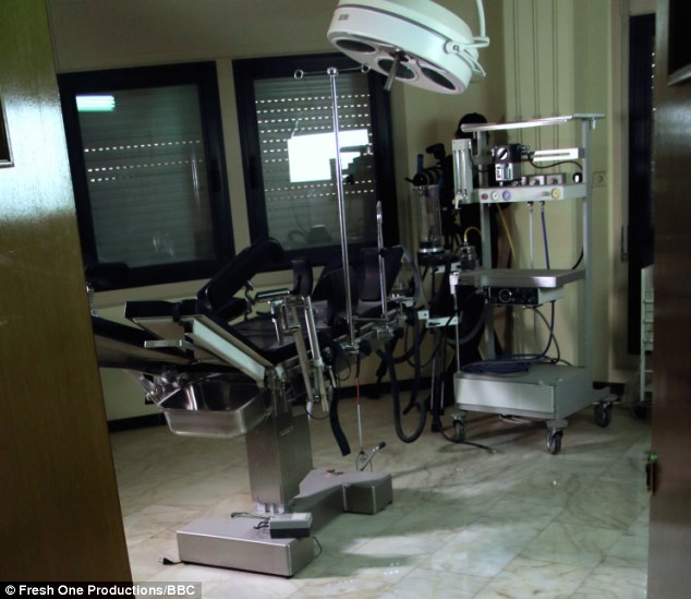 Fully fitted gynelogical suite where young girls would be checked for STDs before being taken to the dictator, one of a number of secret rooms in Tripoli University after the fall of Gaddafi.