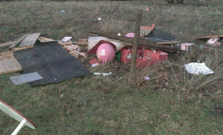 Chobham tornado ruins a playhouse