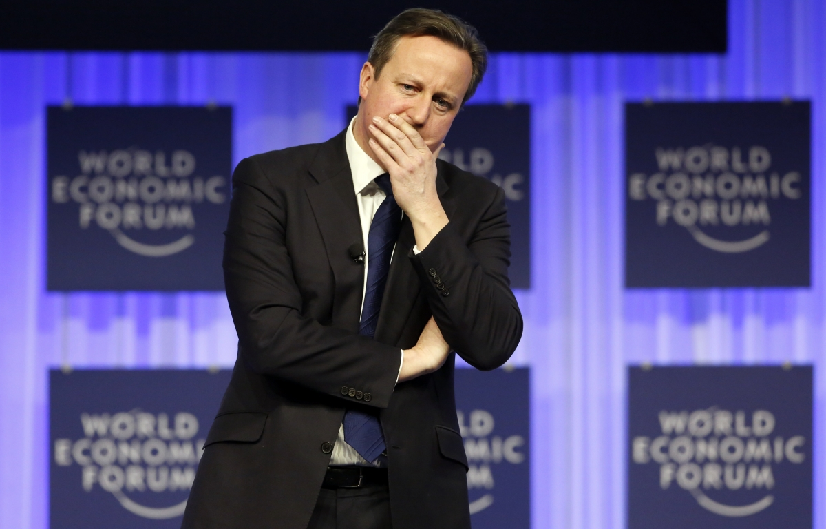 """In a speech to be delivered at the Federation of Small Business conference on 27 January, Cameron will pledge to simplify or axe around 3,000 """"unnecessary regulations"""" Here he is at the World Economic Forum 2014"""