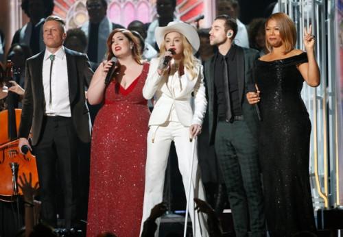 Macklemore, Mary Lambert, Madonna, Ryan Lewis and Queen Latifah (L-R) perform