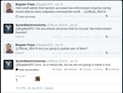 SEA Tweets that it has the law enforcement documents stolen from Microsoft
