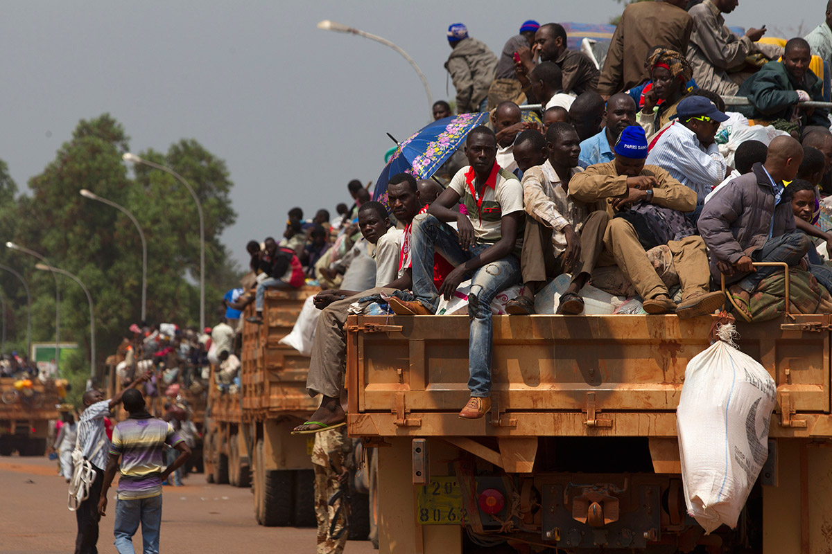fleeing trucks