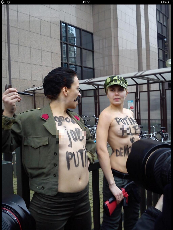 Femen protest in Brussels