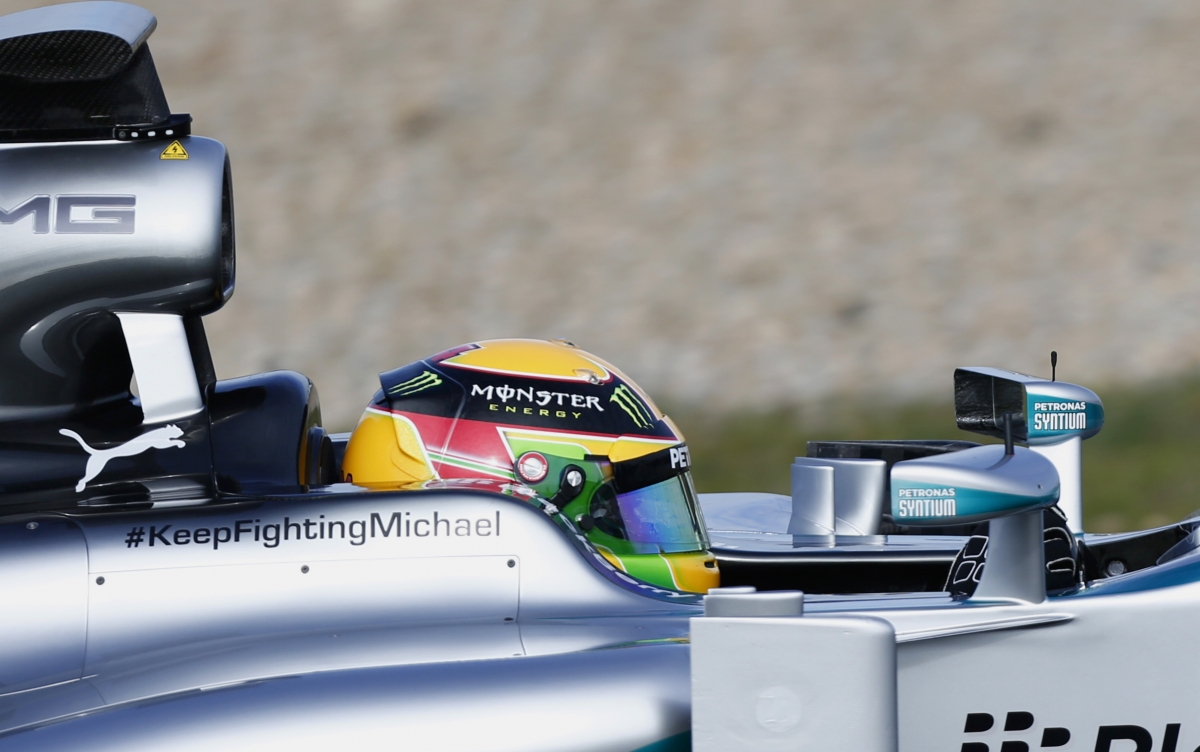 Mercedes 2014 F1 car carries message to Michael Schumacher as testing begins at Jerez racetrack, in Spain
