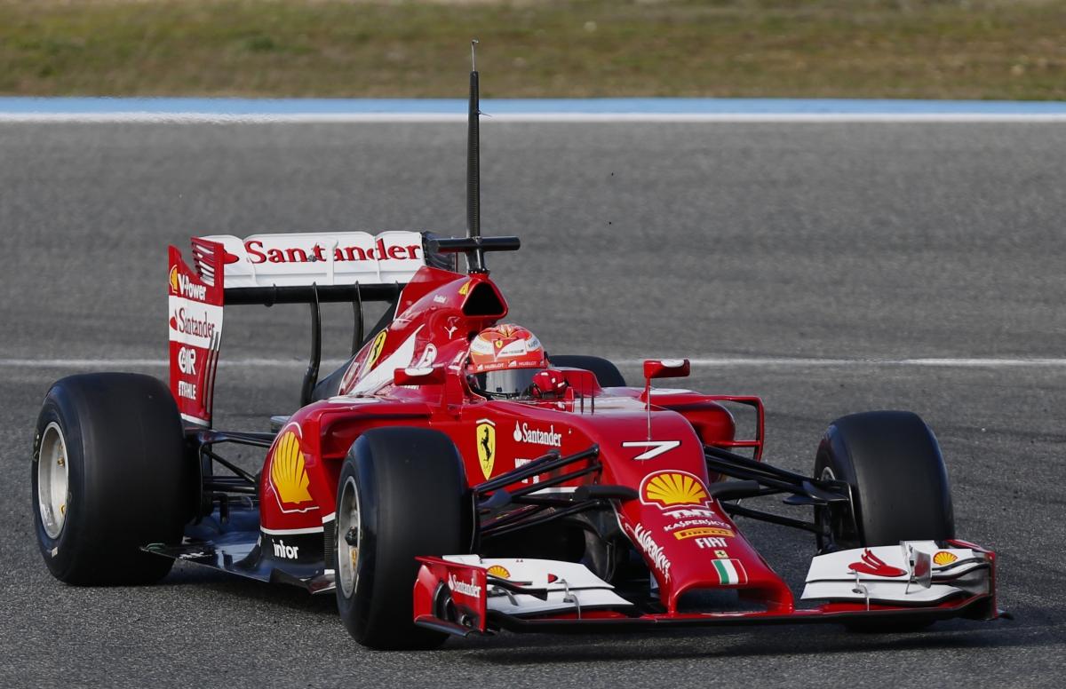 Ferrari F14T is put through its pace by Kimi Raikkonen with a message to Michael Schumacher on its bodywork