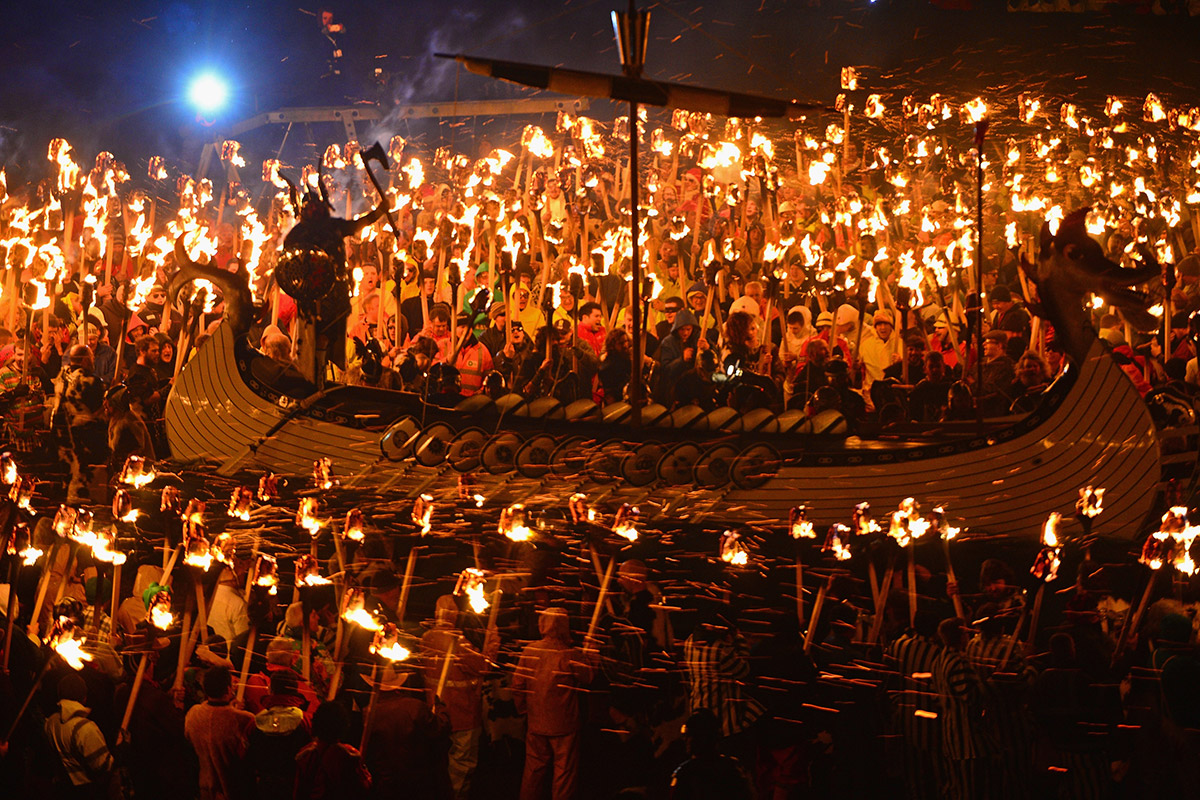 up helly aa long boat torches