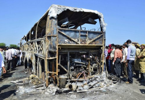 India bus fire