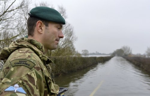 Major Al Robinson of the Royal Engineers near Muchelney, a village which has been cut off for weeks