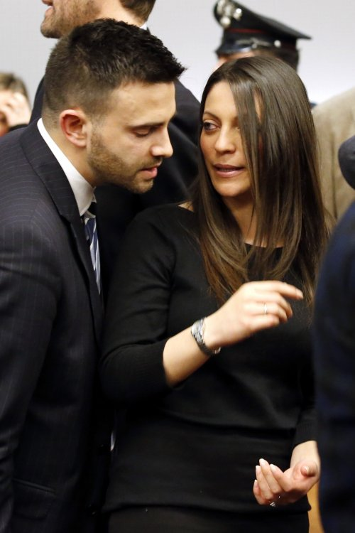 Family members of murdered British student Meredith Kercher, brother Lyle (L) and sister Stephanie (R)