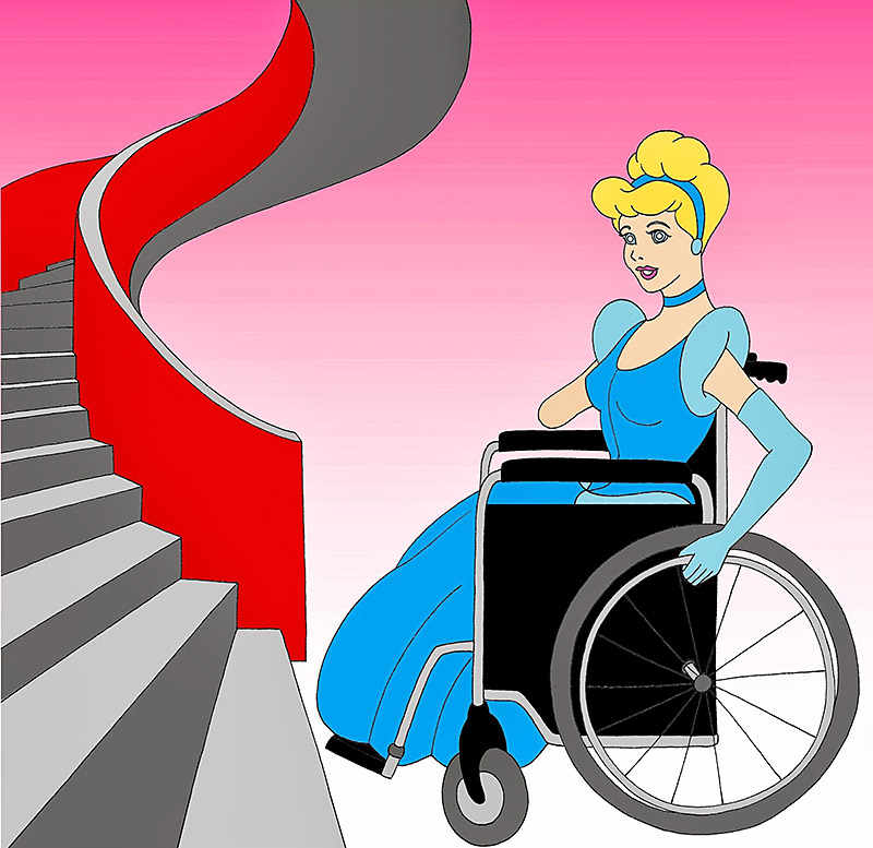 Disabled Disney Princesses Cinderella stairs