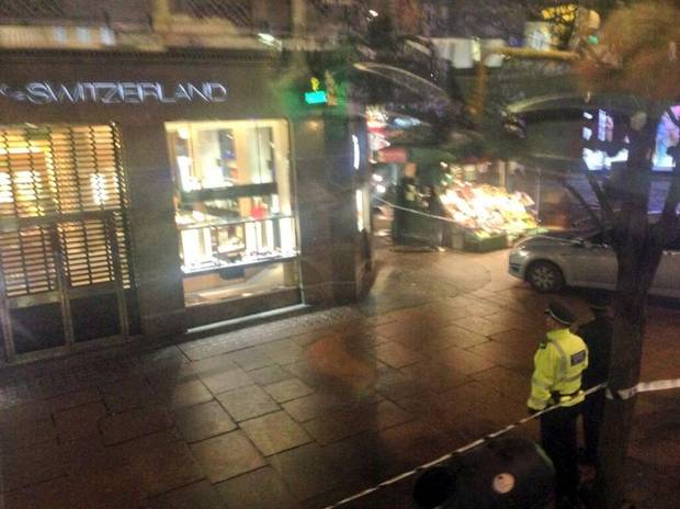 Scene at Watches of Switzerland after rush hour robbery on Oxford Street