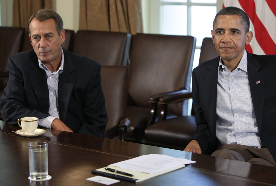 U.S. President Barack Obama (R) and House Speaker John Boehner (R-OH)