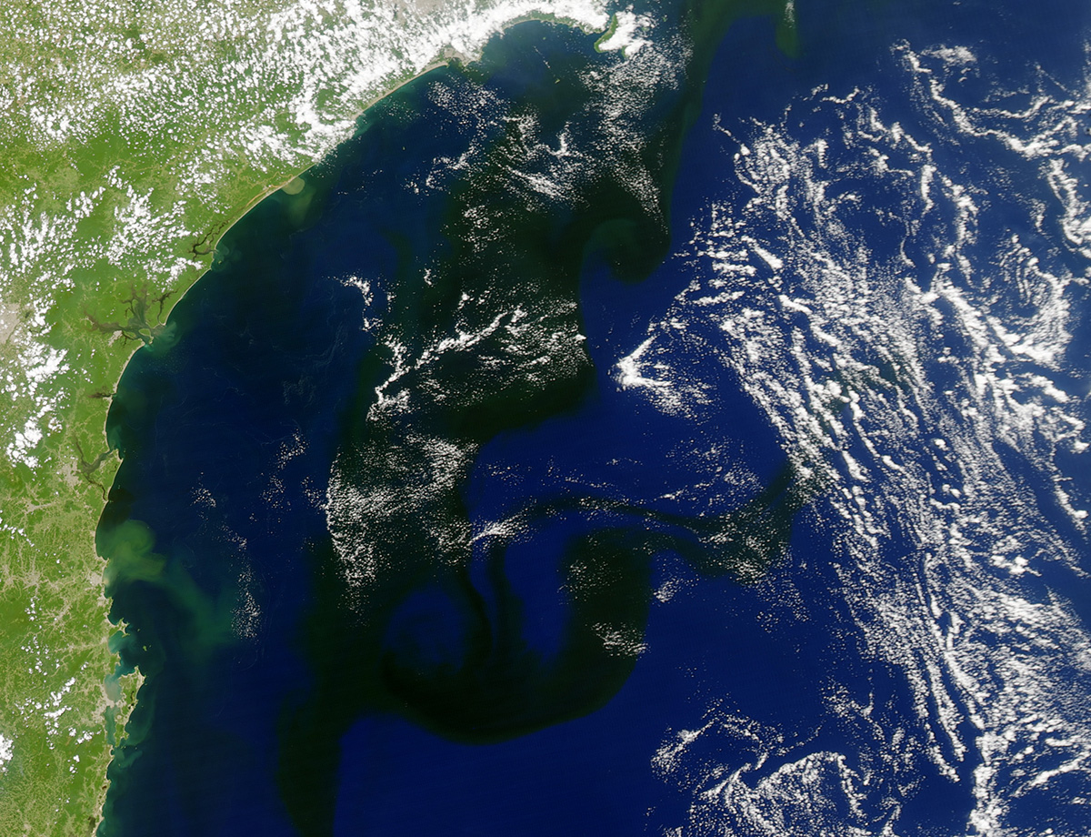 A NASA image shows the slick stretching along the Brazilian coast.