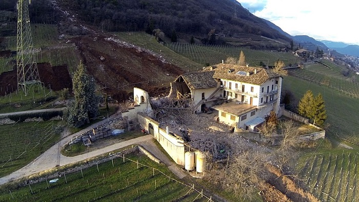 Ariel view of the destruction caused by the giant boulders.