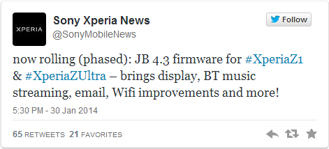Xperia Z1 and Z Ultra Get New Android 4.3 Performance Update for Wi-Fi, Bluetooth and E-mail Issues