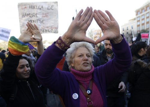 A protester demonstrates her support for the rally against Spain's anti-abortion bill.